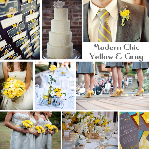 Yellow and gray is fitting for any type of wedding casual elegant