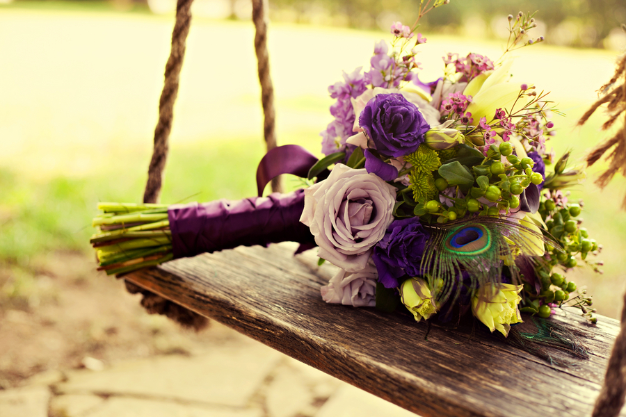 3 purple bouquet Rustic Vintage Tennessee Wedding