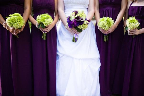 green and purple wedding bouquet car interior design