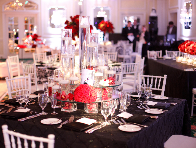 Elegant Red and Black Wedding