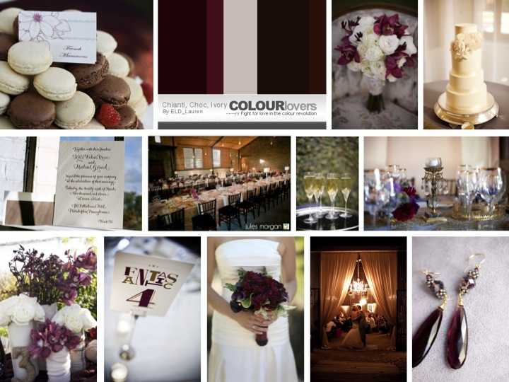 brown and champagne damask wedding