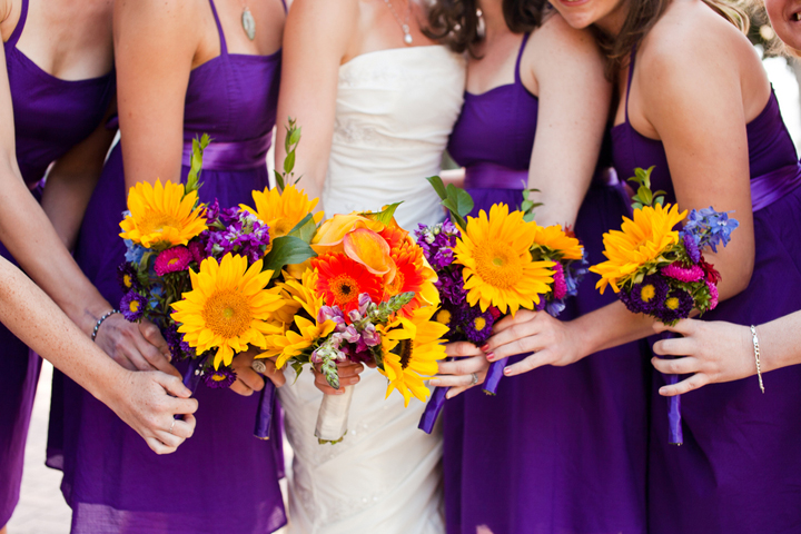 Golden Colour Wedding Gowns: Eclectic DIY Purple And Yellow Wedding