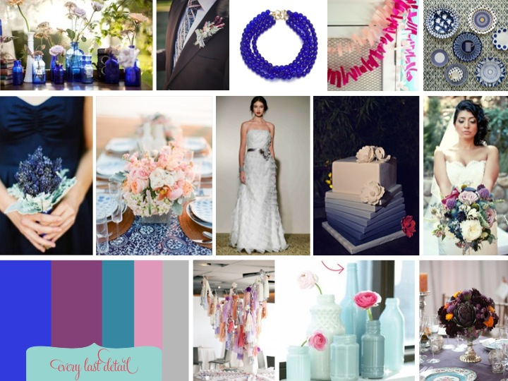 Bold, Modern Cobalt Blue & Plum Inspiration Board via TheELD.com
