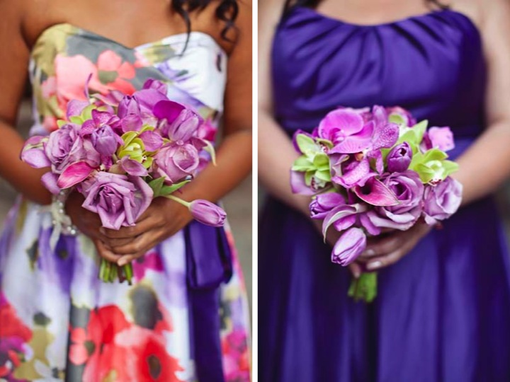 Eclectic Purple, Orange & Green Wedding  via TheELD.com