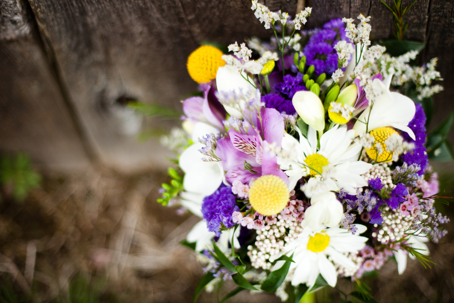Purple & Yellow Eclectic Spring Wedding via TheELD.com
