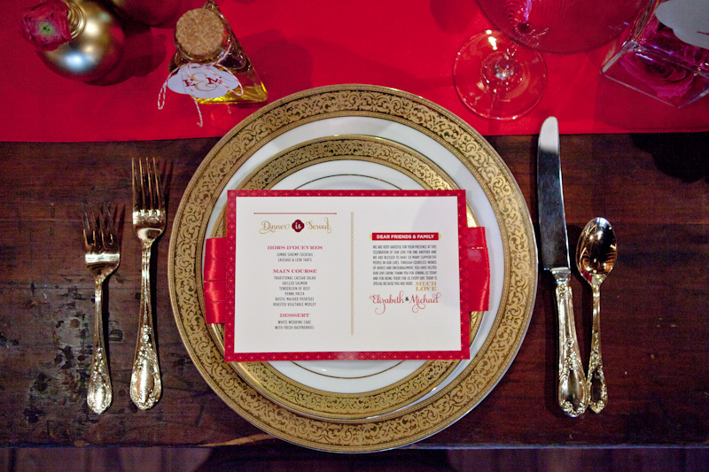 Modern Elegant Red, Pink & Gold Wedding Inspiration via TheELD.com