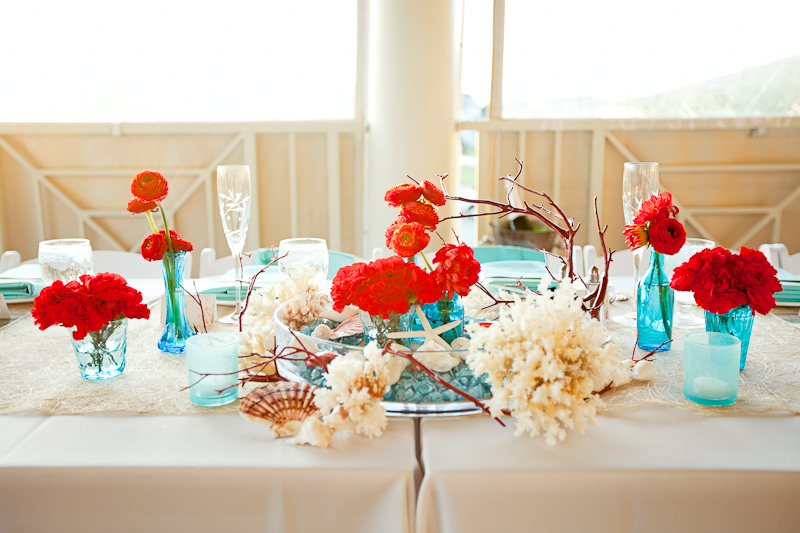 Modern red aqua outer banks wedding every last detail