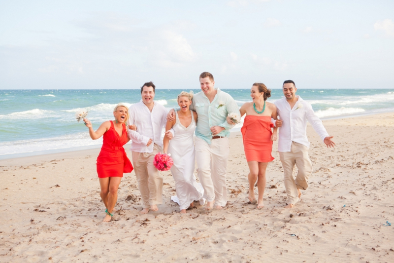 Modern Pink Amp Orange Beach Wedding