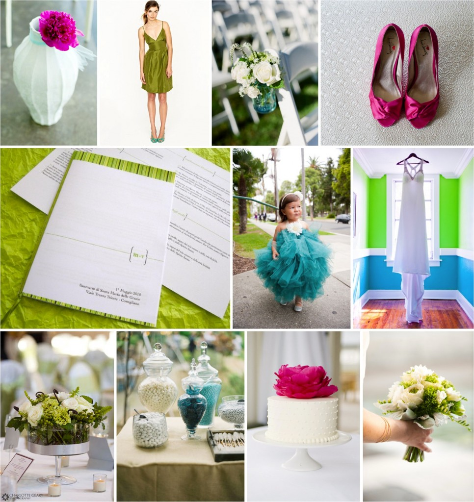 Inspiration Board: Surf Blue, Apple, Hot Pink and White via TheELD.com